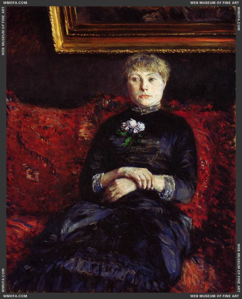 Woman Sitting on a Red Flowered Sofa 1882 by Caillebotte, Gustave