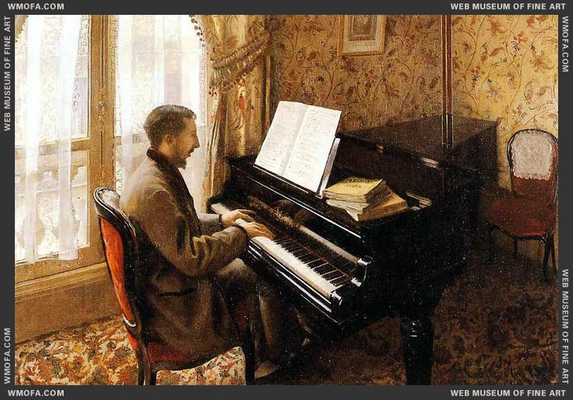 Young Man Playing the Piano 1876 by Caillebotte, Gustave