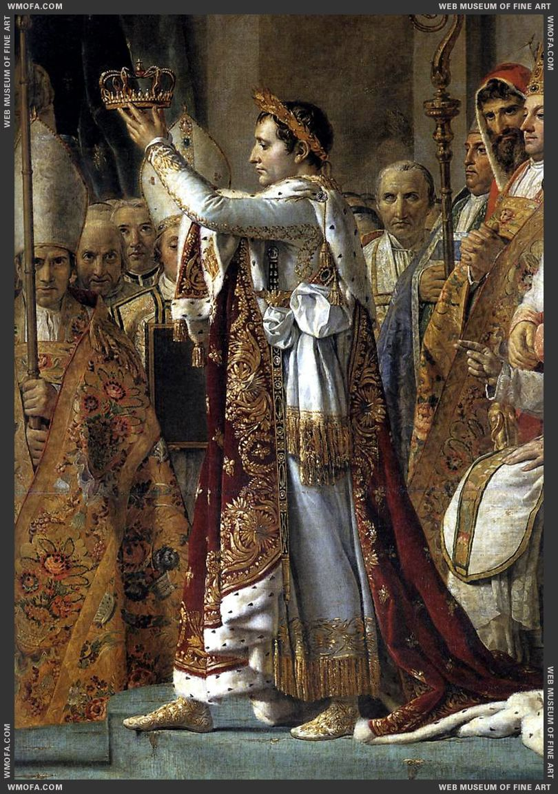 Consecration of the Emperor Napoleon I - detail Napoleon raising the    Delacroix Napoleon