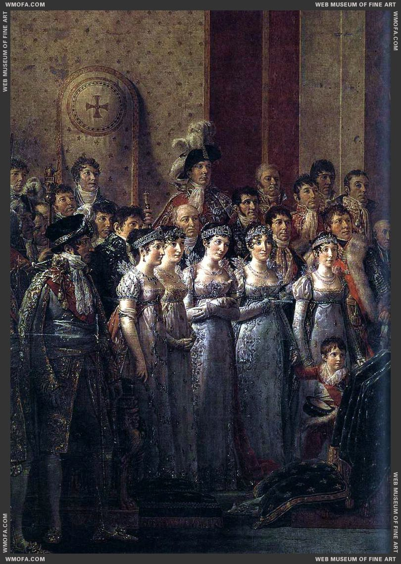 Consecration of the Emperor Napoleon I - detail Napoleons brothers and sisters - 1805-1807 by David, Jacques-Louis