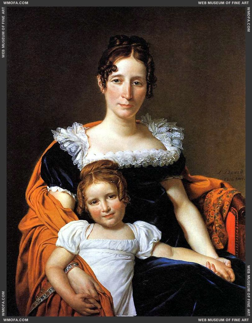 Portrait of the Comtesse Vilain XIIII and her Daughter 1816 by David, Jacques-Louis