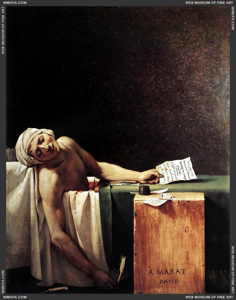 The Death of Marat 1793 by David, Jacques-Louis