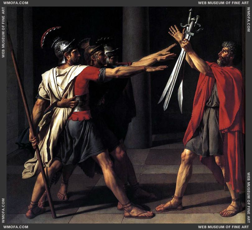 The Oath of the Horatii - detail the three swords - 1784 by David, Jacques-Louis