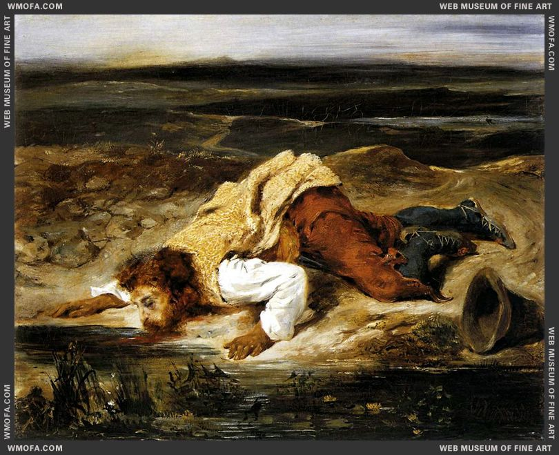 A Mortally Wounded Brigand Quenches his Thirst c1825 by Delacroix, Eugene