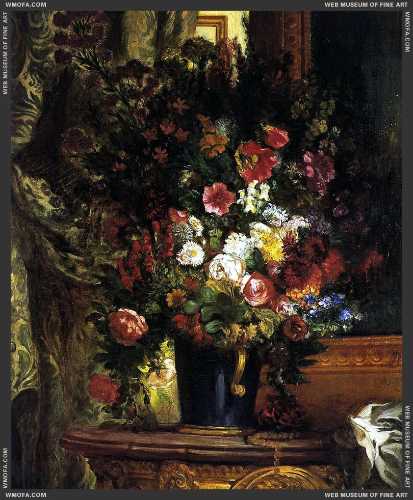 A Vase of Flowers on a Console 1848-1850 by Delacroix, Eugene
