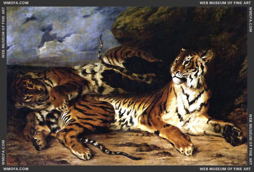 A Young Tiger Playing with its Mother 1830 by Delacroix, Eugene