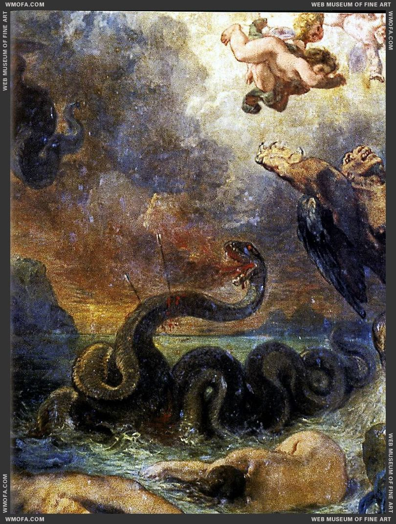 Apollo Vanquishing the Python - detail - 1850-1851 by Delacroix, Eugene