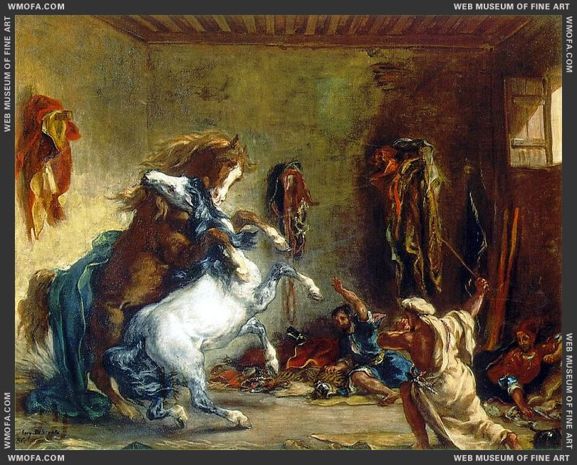 Arab Horses Fighting in a Stable 1860 by Delacroix, Eugene