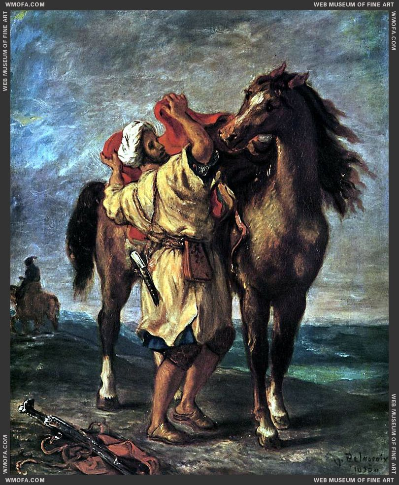 Arab Saddling his Horse 1855 by Delacroix, Eugene
