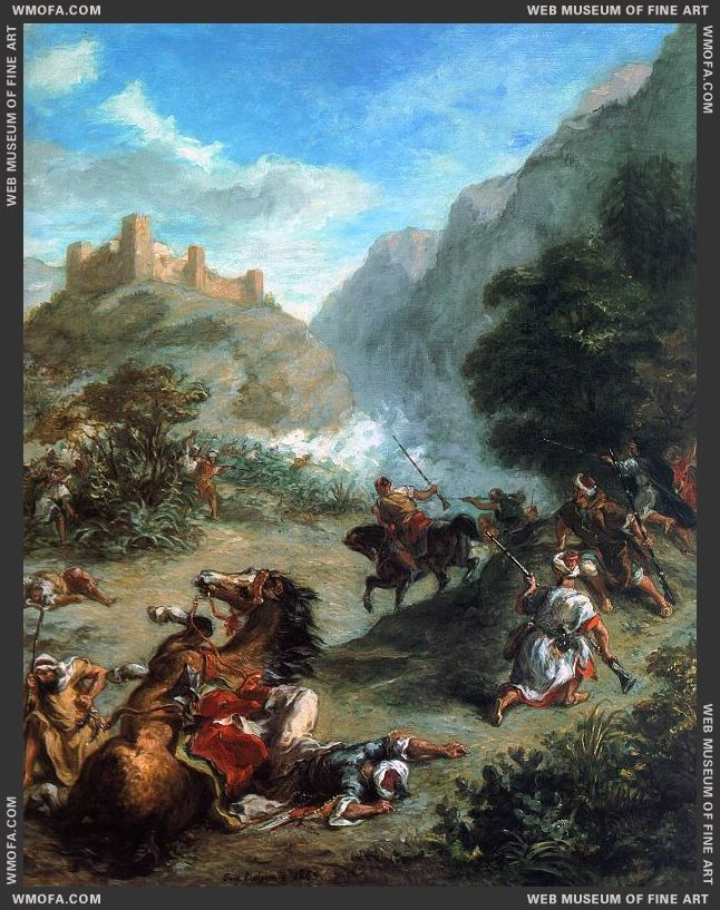 Arabs Skirmishing in the Mountains 1863 by Delacroix, Eugene