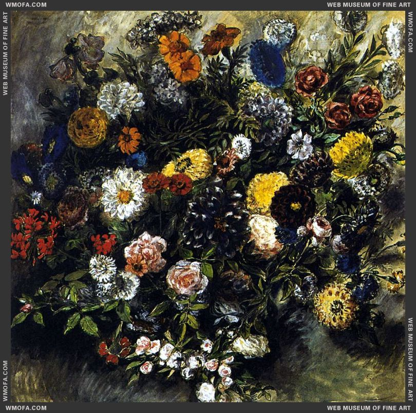 Bouquet of Flowers - watercolour - 1849-1850 by Delacroix, Eugene