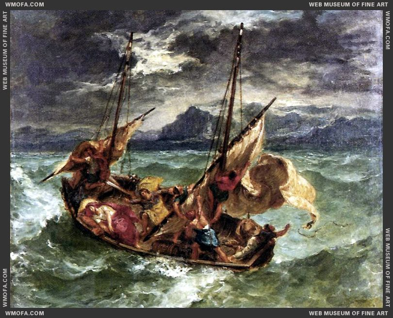 Christ on the Lake of Gennezaret 1854 by Delacroix, Eugene