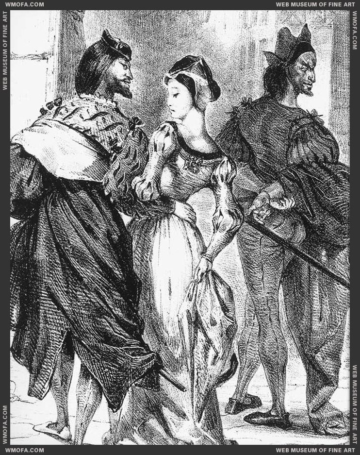 Faust Trying to Seduce Margarete - lithograph - 1828 by Delacroix, Eugene