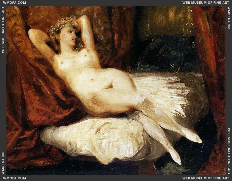 Female Nude Reclining on a Divan 1825-1826 by Delacroix, Eugene