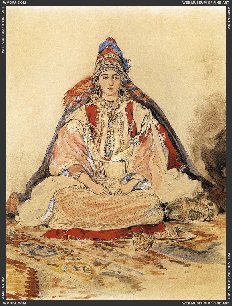 Jewish Bride - watercolour - 1832 by Delacroix, Eugene