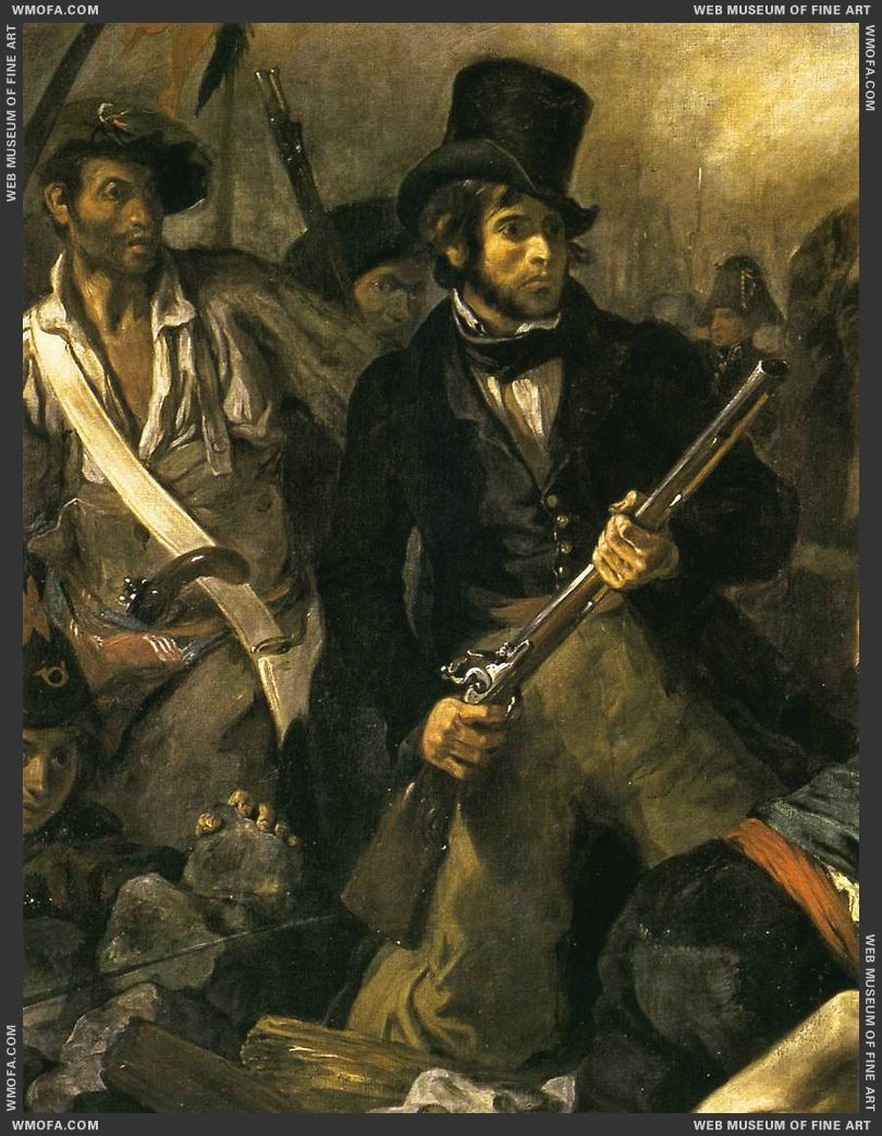 Liberty Leading the People - detail self-portrait - 1830 by Delacroix, Eugene