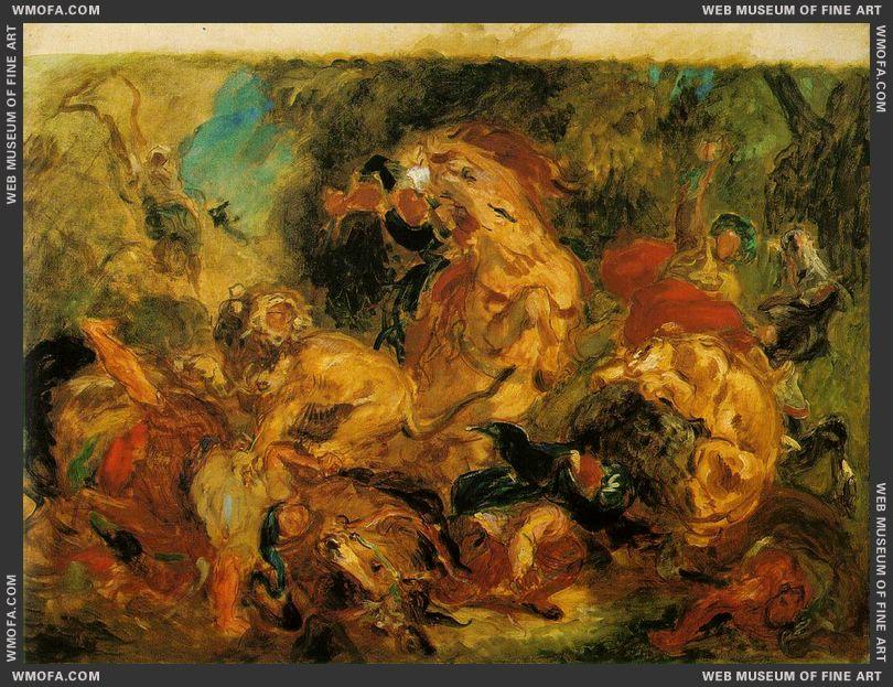 Lion Hunt 1854 by Delacroix, Eugene