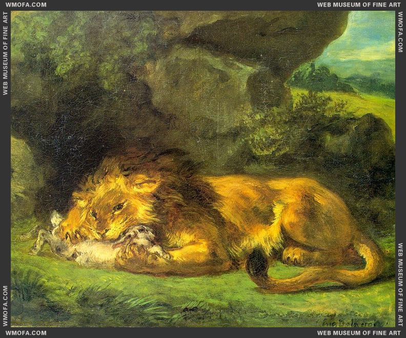 Lion with a Rabbit by Delacroix, Eugene
