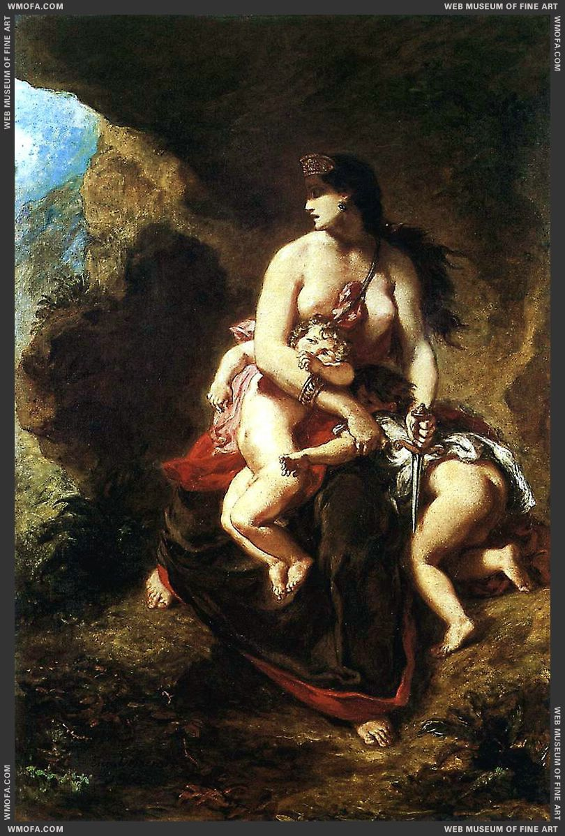 Medea about to Kill her Children 1838 by Delacroix, Eugene