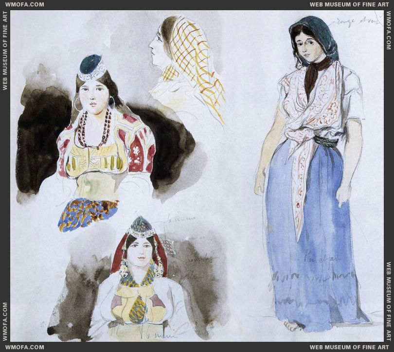 Moroccan Women - watercolour - 1832 by Delacroix, Eugene