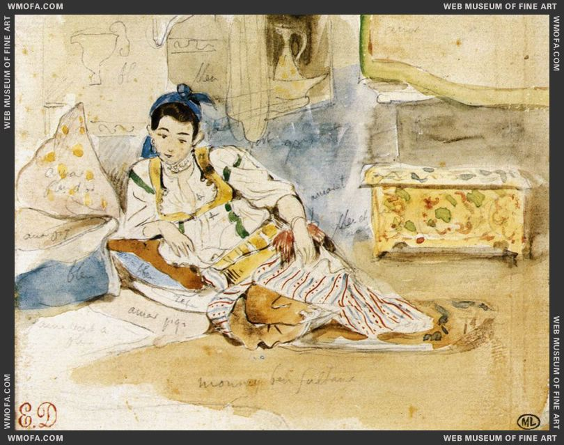 Mounay ben Sultan - watercolour - 1832 by Delacroix, Eugene