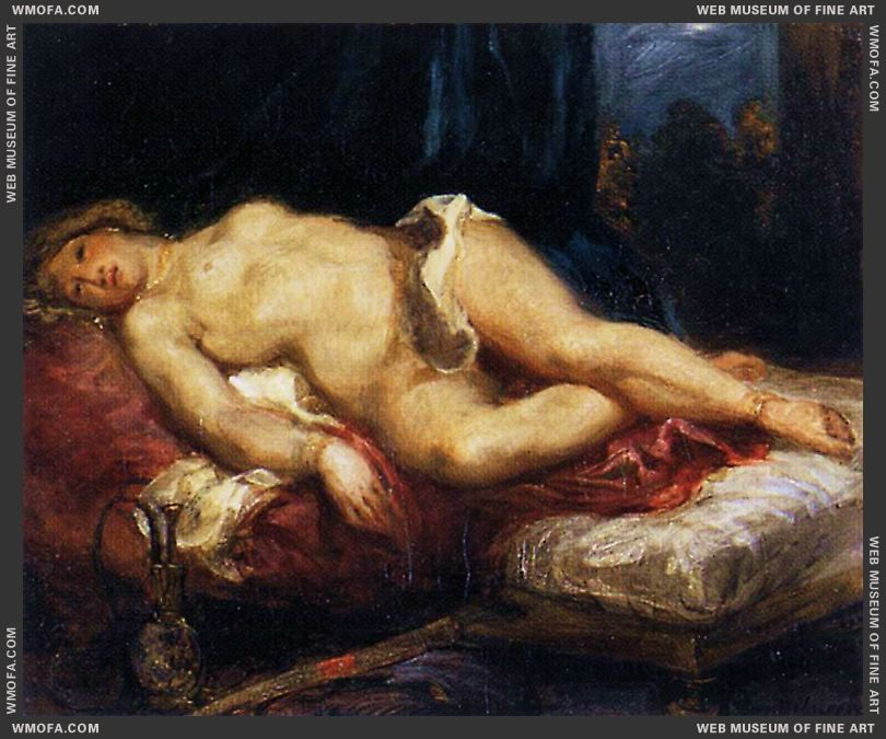 Odalisque Reclining on a Divan 1827-1828 by Delacroix, Eugene
