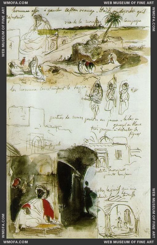 Page from the Moroccan Notebook 1832 by Delacroix, Eugene