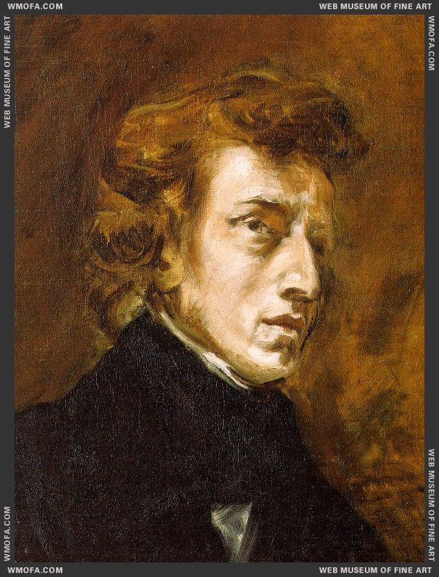 Portrait of Frederic Chopin - unfinished - 1838 by Delacroix, Eugene