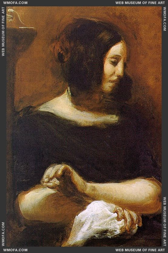 Portrait of George Sand - unfinished - 1838 by Delacroix, Eugene