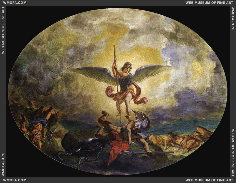 St Michael defeats the Devil 1854-1861 by Delacroix, Eugene