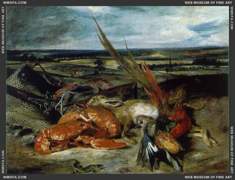 Still Life with Lobsters 1826-1827 by Delacroix, Eugene