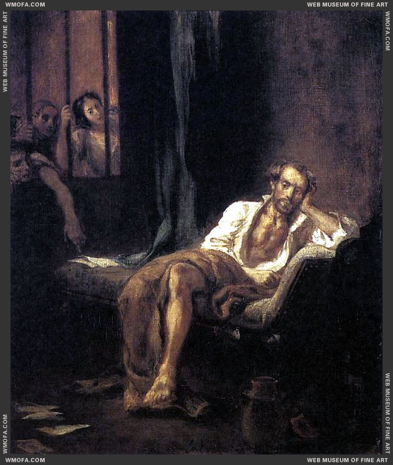 Tasso in the Madhouse 1839 by Delacroix, Eugene