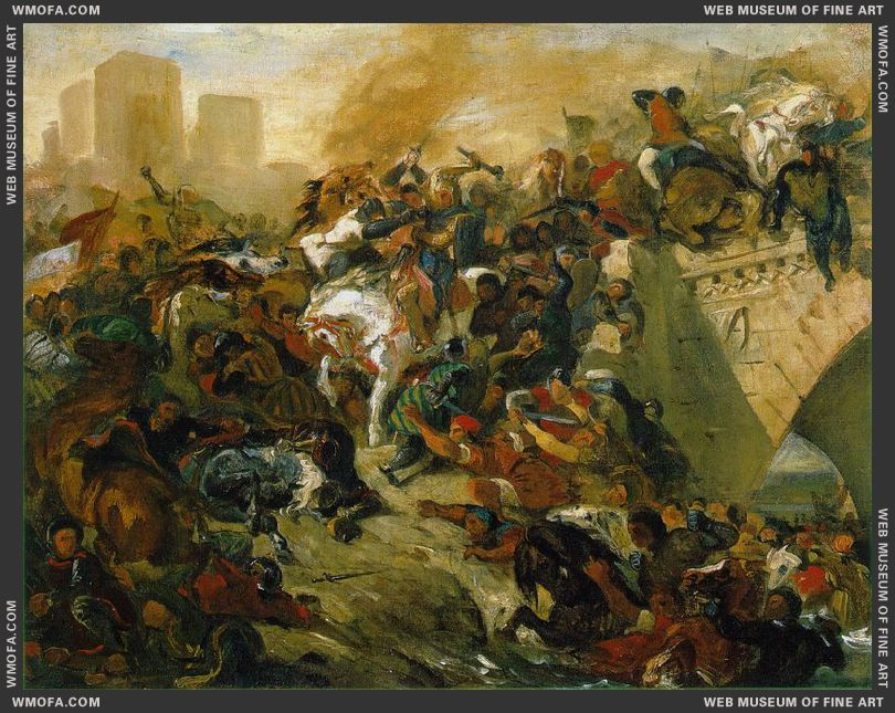 The Battle of Taillebourg - draft - 1834-1835 by Delacroix, Eugene