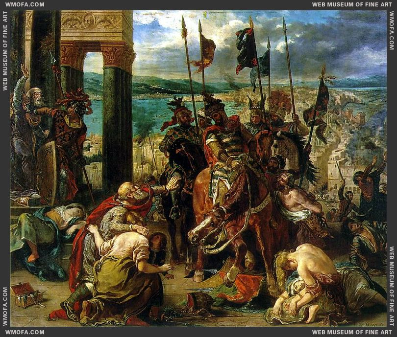 The Entry of the Crusaders into Constantinople 1840 by Delacroix, Eugene