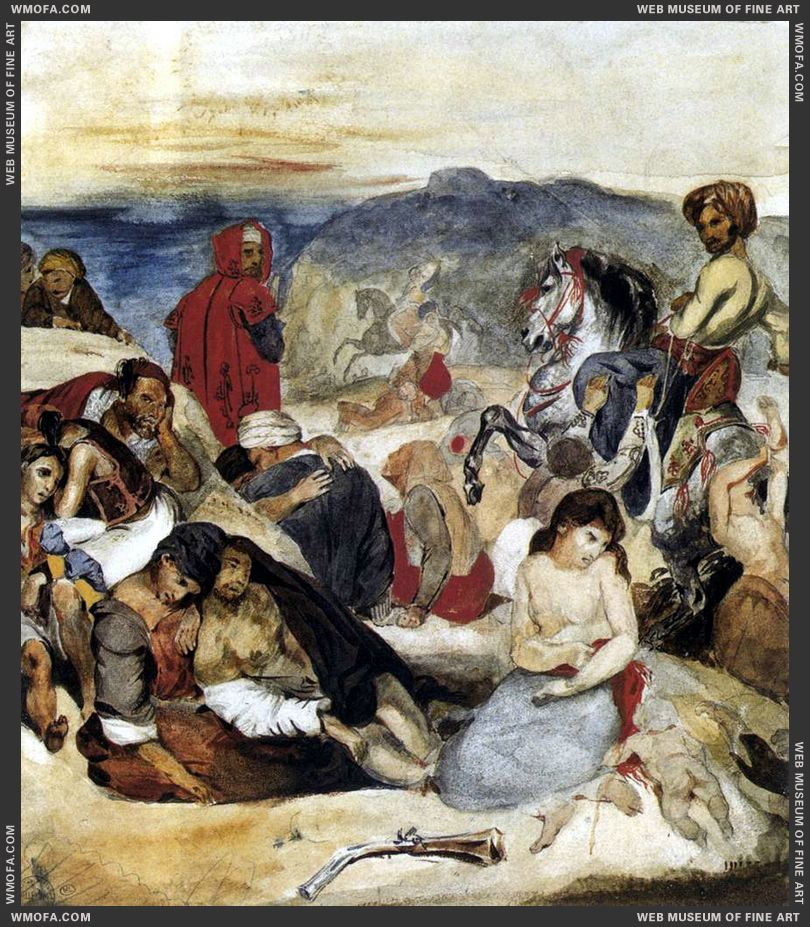 The Massacre of Chios - watercolour - by Delacroix, Eugene