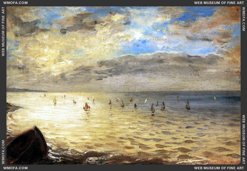 The Sea from the Heights of Dieppe 1852 by Delacroix, Eugene
