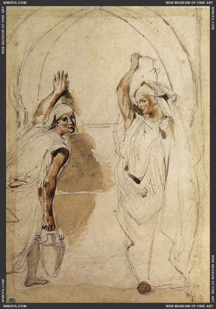 Two Women at the Well - watercolour - 1832 by Delacroix, Eugene
