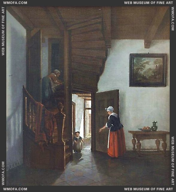 Interior With Winding Stairs by Elinga, Pieter Janssens