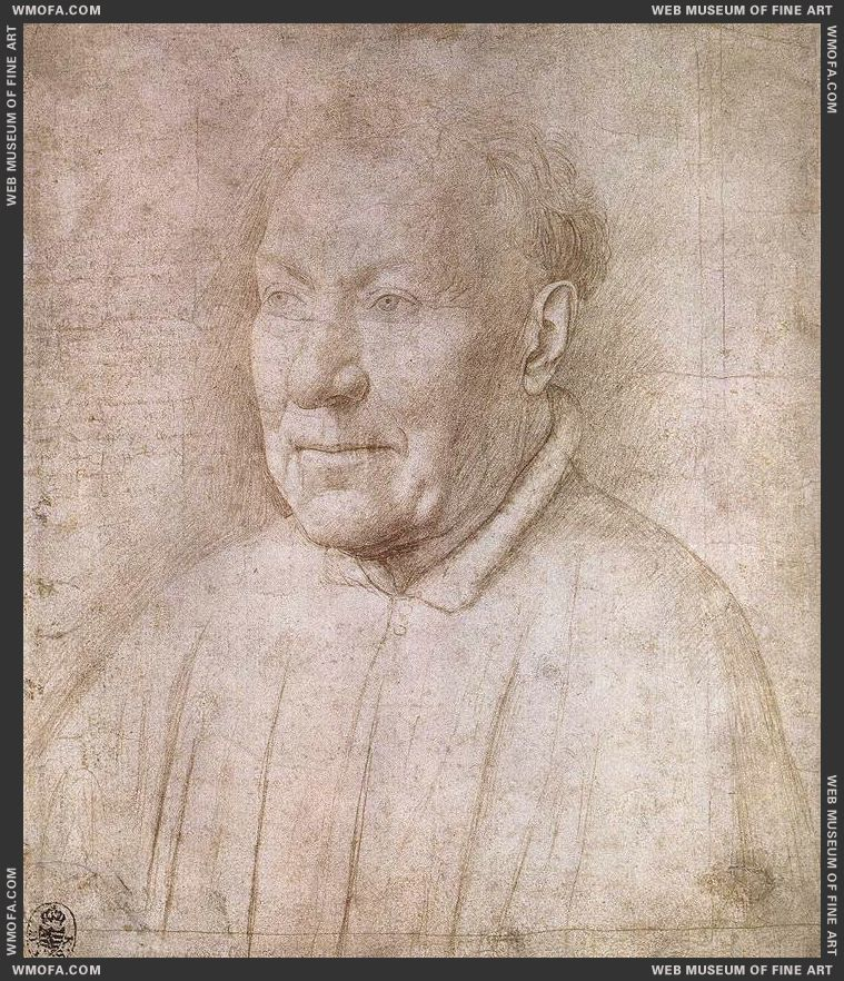 Portrait of Cardinal Niccolo Albergati - drawing - c1430 by Eyck, Jan van