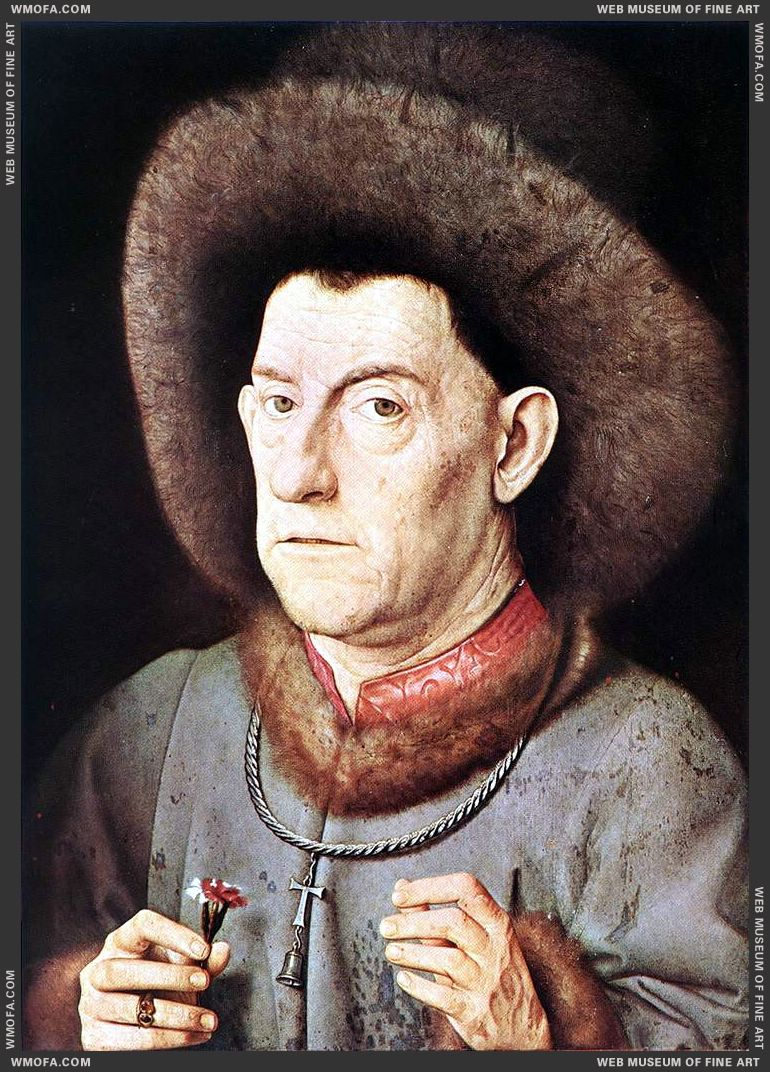 Portrait of a Man with Carnation c1435 by Eyck, Jan van