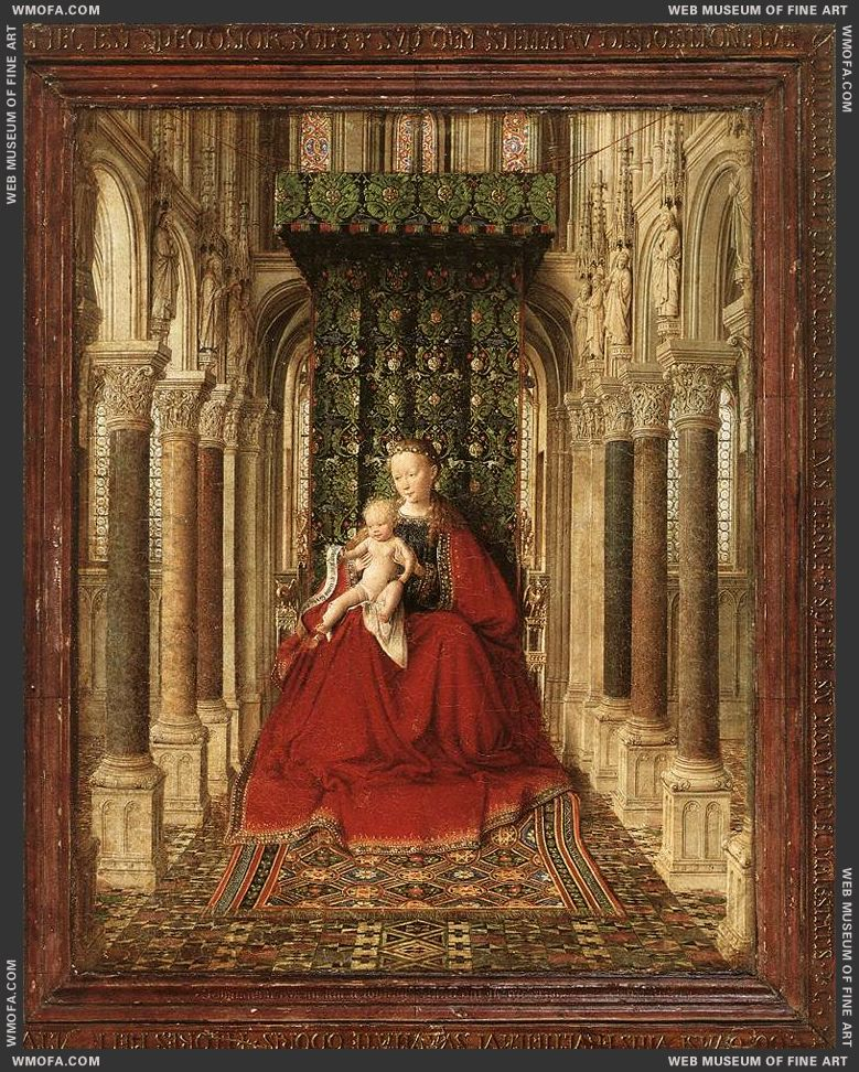 Small Triptych - central panel - Virgin and Child in a church c1437 by Eyck, Jan van