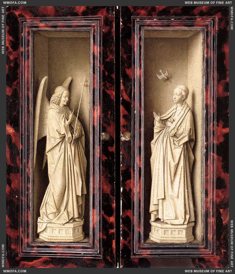 Small Triptych - outer panels - the Angel and the Virgin of the Annunciation c1437 by Eyck, Jan van