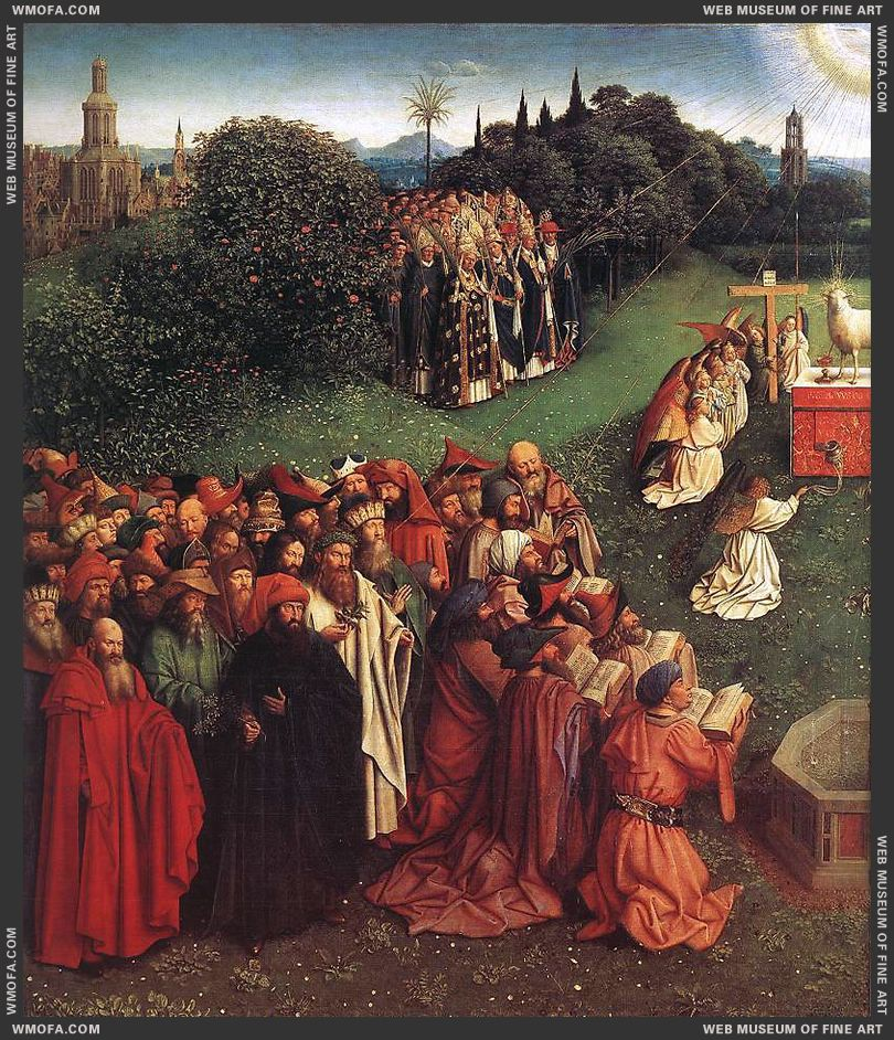 The Ghent Altarpiece - Adoration of the Lamb - detail Old Testament patriarchs and prophets 1425-1429 by Eyck, Jan van
