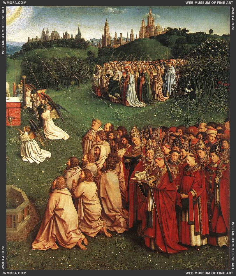 The Ghent Altarpiece - Adoration of the Lamb - detail figures from the New Testament and hierarchy of the Church 1425-1429 by Eyck, Jan van