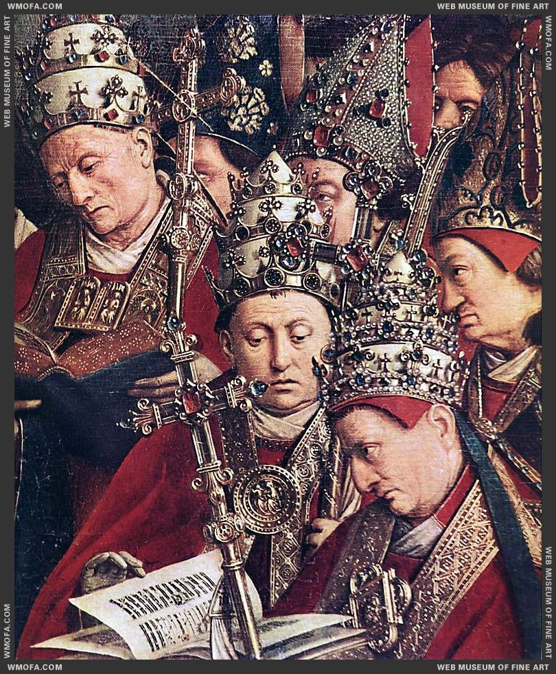 The Ghent Altarpiece - Adoration of the Lamb - detail popes deacons and bishops 1425-1429 by Eyck, Jan van