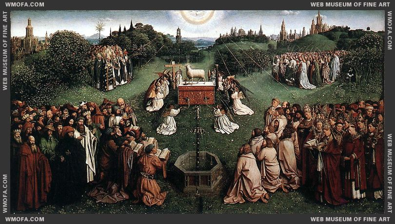 The Ghent Altarpiece - Adoration of the Lamb 1425-1429 by Eyck, Jan van