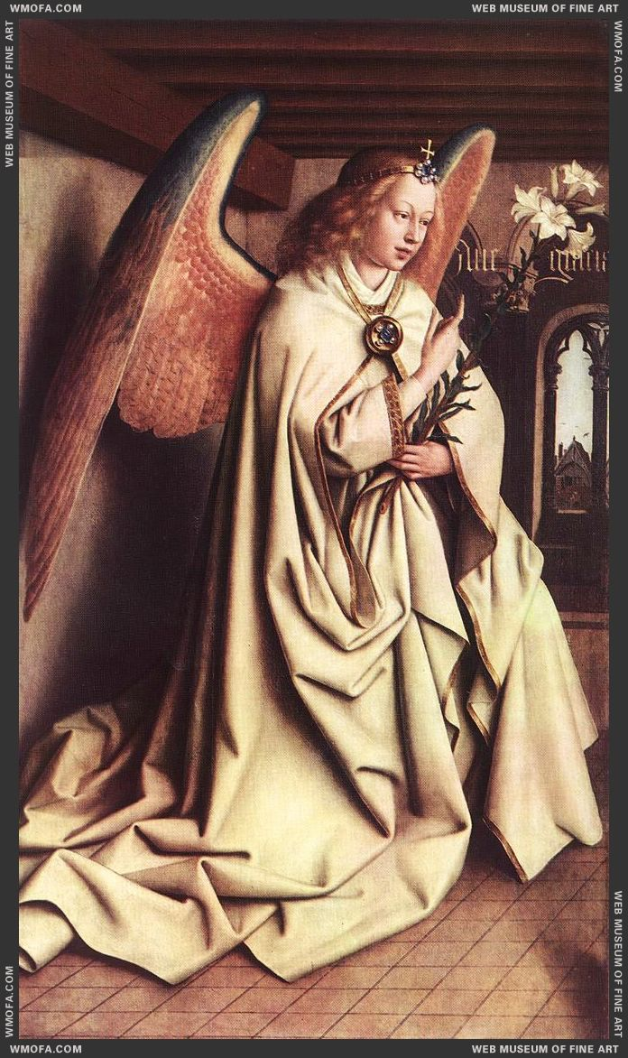 The Ghent Altarpiece - Angel of the Annunciation 1432 by Eyck, Jan van