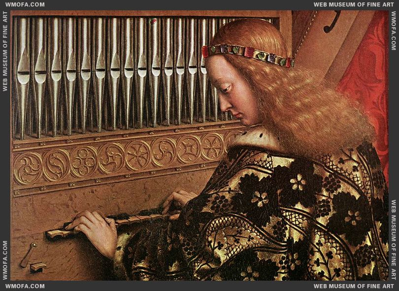 The Ghent Altarpiece - Angels Playing Music - detail angel playing organ 1426-1427 by Eyck, Jan van