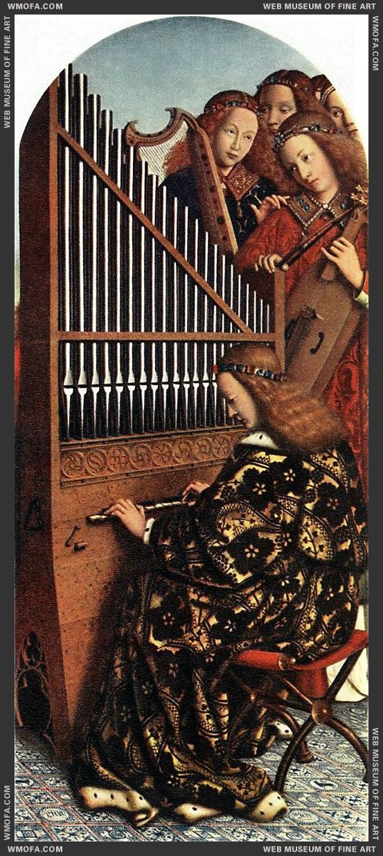 The Ghent Altarpiece - Angels Playing Music 1426-1427 by Eyck, Jan van