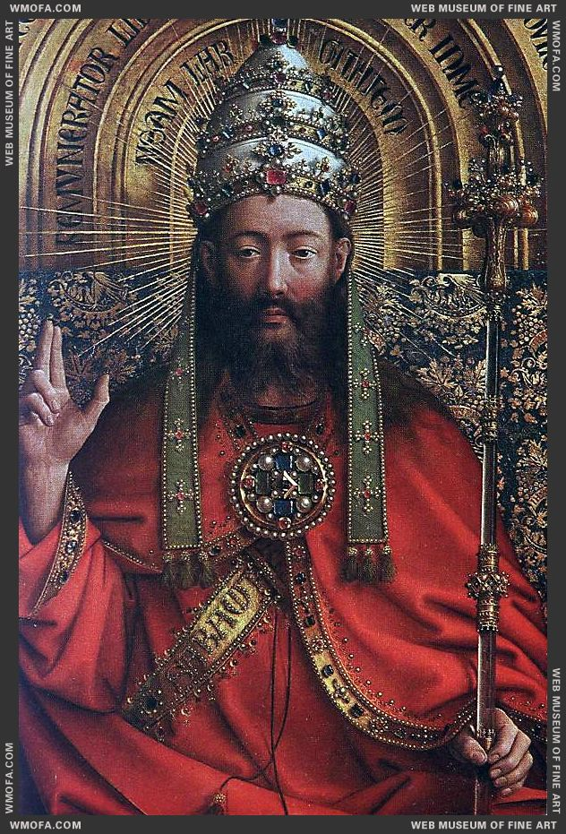 The Ghent Altarpiece - God Almighty - detail 1426-1427 by Eyck, Jan van